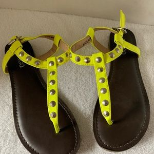 Bongo sandals wore once sz 6 fluorescent yellow